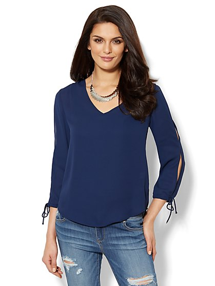 Cold Shoulder Split-Sleeve Blouse - Solid   - New York & Company