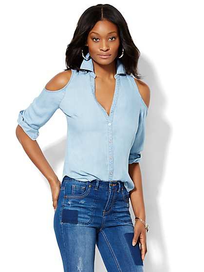 Cold-Shoulder Super-Soft Chambray Shirt - Light Indigo  - New York & Company