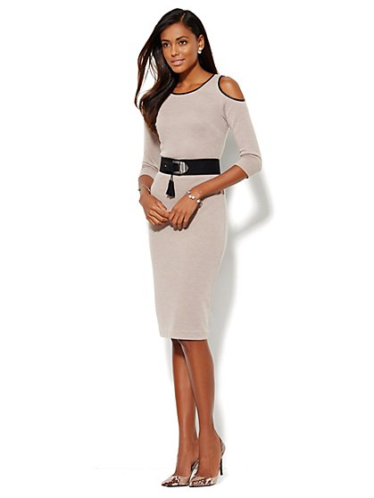 Cold-Shoulder Sweater Dress  - New York & Company