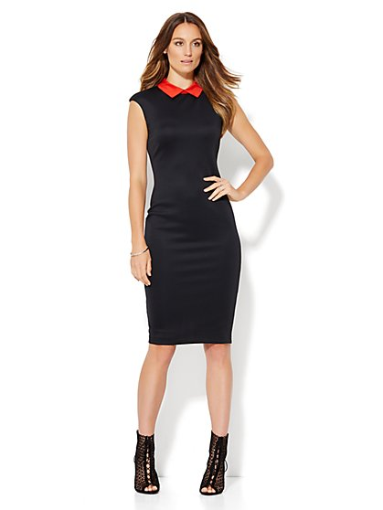 Collared Scuba Sheath Dress - Black  - New York & Company