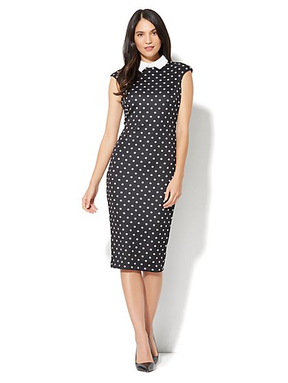 Collared Sheath Dress - Polka-Dot Print - New York & Company