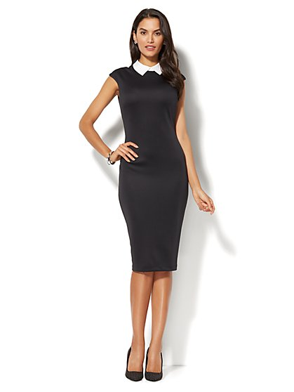 Collared Sleeveless Sheath Dress - Black - New York & Company