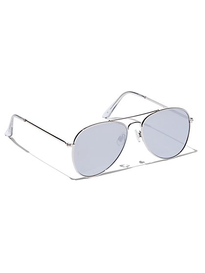 Color-Lens Aviator Sunglasses  - New York & Company