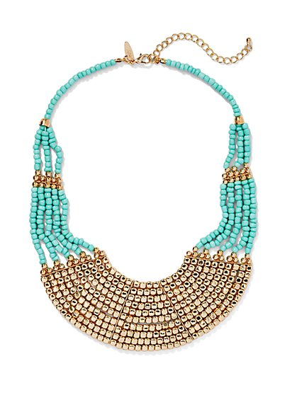 Colorblock Beaded Collar Necklace  - New York & Company