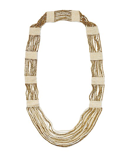 Colorblock Beaded Necklace  - New York & Company