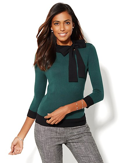 Colorblock Bow Sweater  - New York & Company