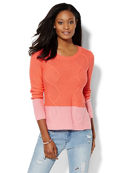 Colorblock Cable-Knit Sweater  - New York & Company