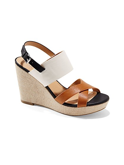 Colorblock Canvas Wedge-Heel Sandal  - New York & Company