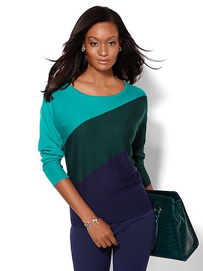 Colorblock Dolman Sweater  - New York & Company