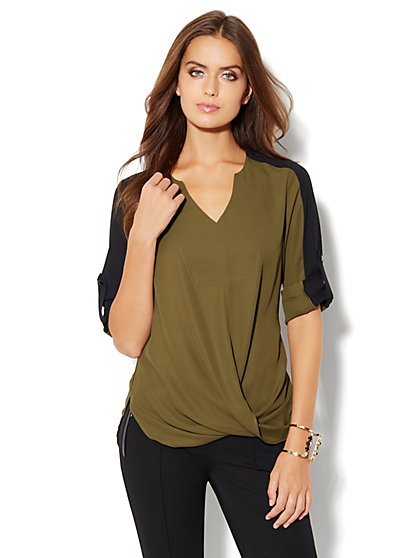 Colorblock Drape Blouse - New York & Company