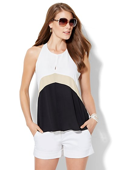 Colorblock Draped Halter Blouse  - New York & Company