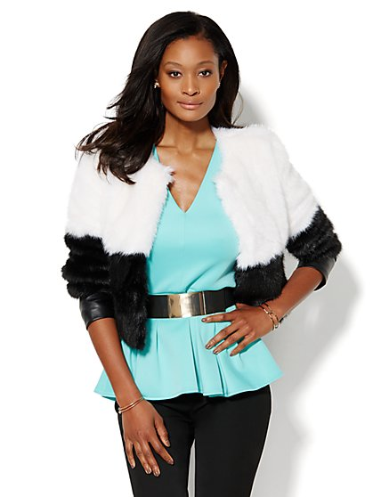 Colorblock Faux-Fur Jacket  - New York & Company