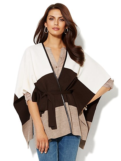 Colorblock Faux-Leather Trim Poncho - New York & Company