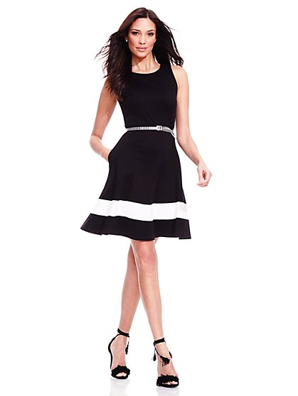 Colorblock Flare Dress - Petite  - New York & Company