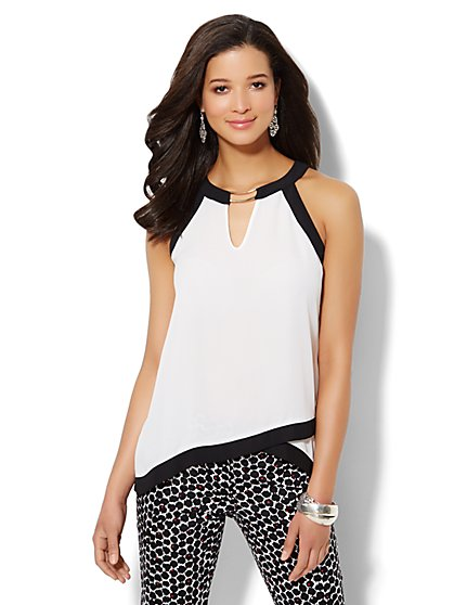 Colorblock Hardware-Accent Halter Top  - New York & Company