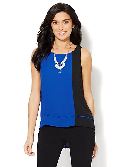 Colorblock Hi-Lo Sleeveless Blouse  - New York & Company