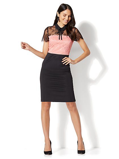 Colorblock Lace Sheath Dress  - New York & Company