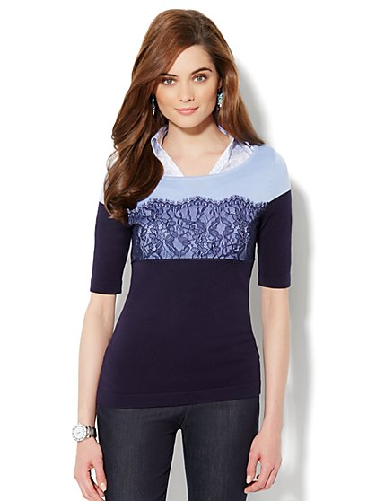 Colorblock Lace Sweater