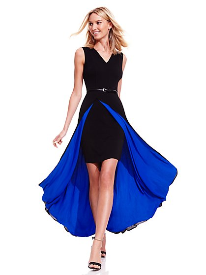 Colorblock Maxi Dress With Skirt - New York & Company