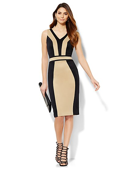 Colorblock Midi Sheath Dress  - New York & Company