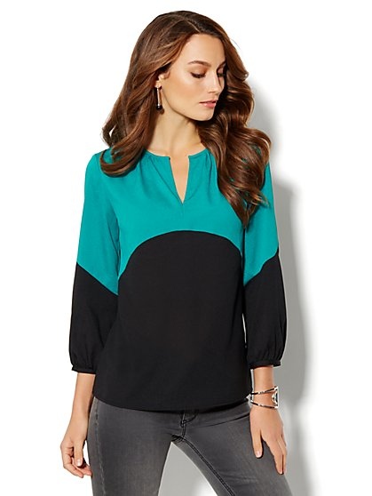 Colorblock Peasant Blouse - New York & Company