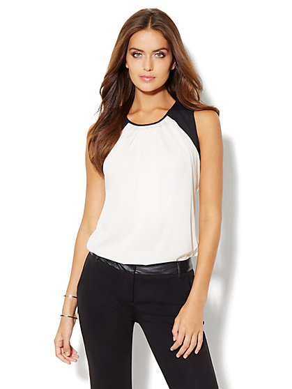 Colorblock Pleat-Neck Top - New York & Company