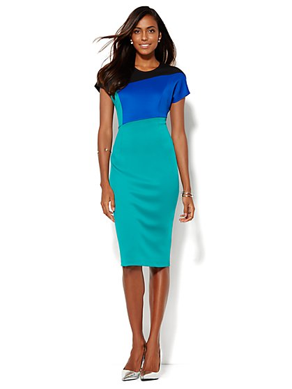 Colorblock Scuba Midi Sheath Dress  - New York & Company