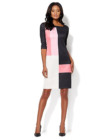 Colorblock Scuba Shift Dress - New York & Company