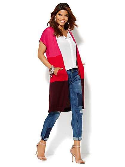 Colorblock Short-Sleeve Duster - New York & Company