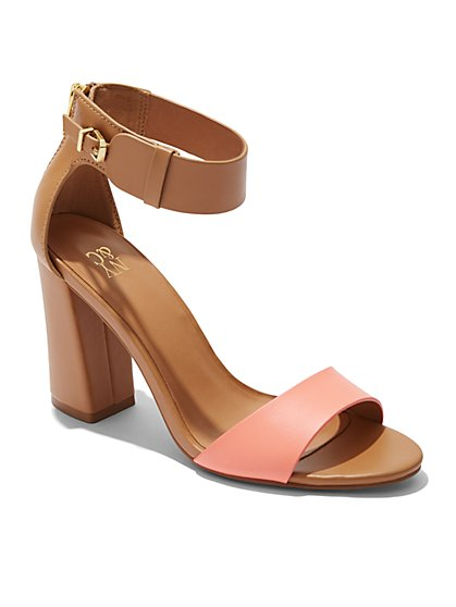 Colorblock Stacked-Heel Sandal  - New York & Company