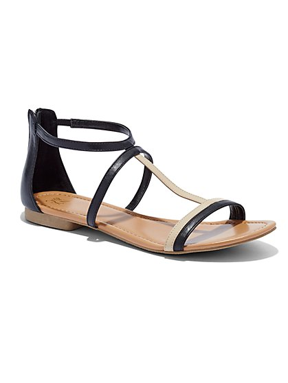 Colorblock T-Strap Sandal  - New York & Company