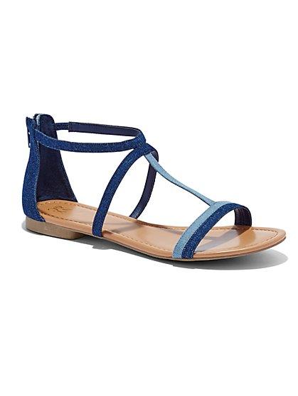 Colorblock T-Strap Sandal  - New York & Company