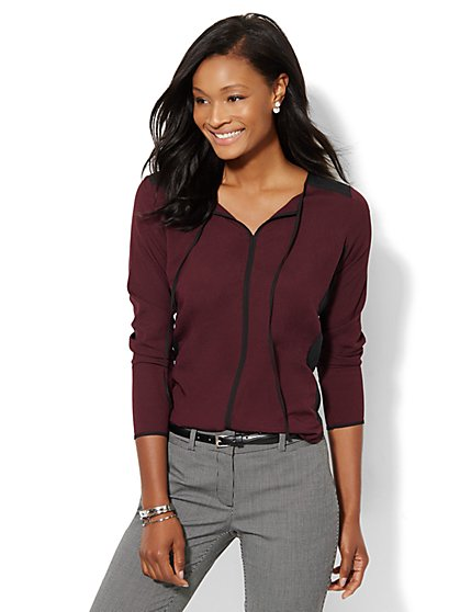 Colorblock Tie-Front Blouse  - New York & Company
