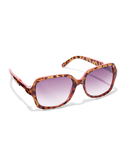 Colorblock Tortoise Print Sunglasses  - New York & Company