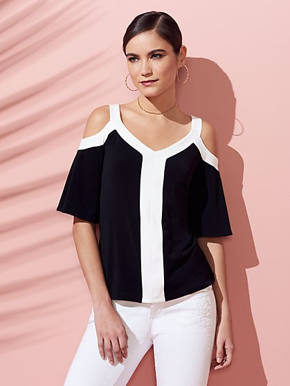 Colorblock V-Neck Cold-Shoulder Top - New York & Company