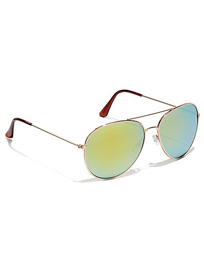 Colored Lens Aviator Sunglasses  - New York & Company