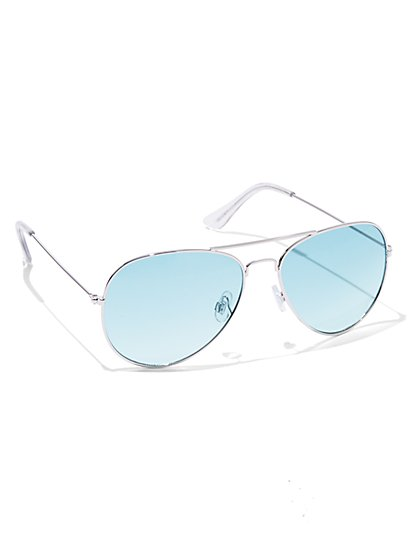 Colored-Lens Aviator Sunglasses  - New York & Company