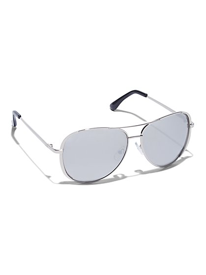 Colored-Rim Aviator Sunglasses  - New York & Company