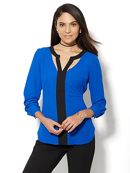 Contrast Cutout Blouse  - New York & Company