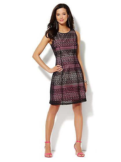 Contrast Lace Dress  - New York & Company