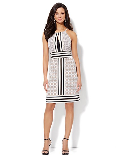 Contrast-Print Knit Halter Dress