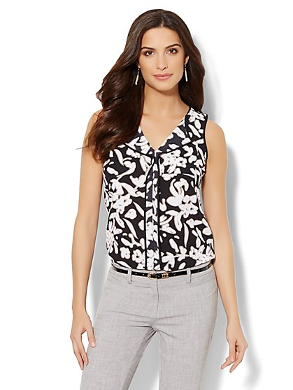 Contrast-Trim Blouse - Floral Print  - New York & Company