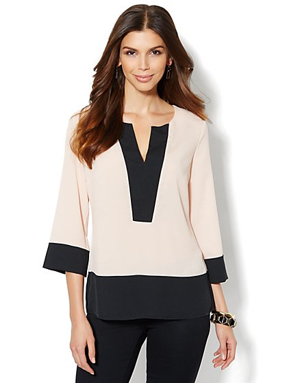 Contrast-Trim Blouse - New York & Company