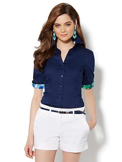 Contrast-Trim Button-Front Shirt