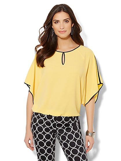 Contrast-Trim Dolman-Sleeve Blouse  - New York & Company