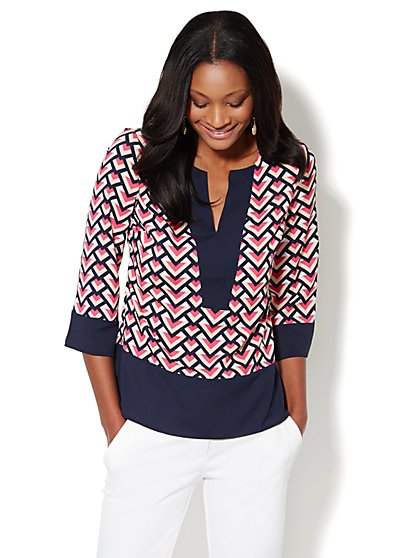 Contrast-Trim Geo-Print Blouse - New York & Company