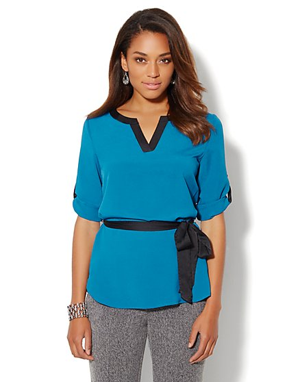 Contrast-Trim Hi-Lo Tunic Blouse - New York & Company