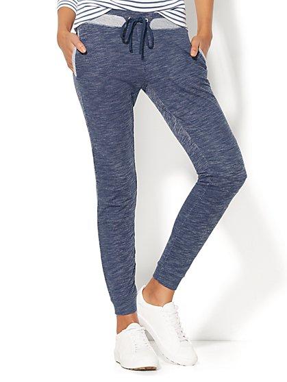 Contrast-Trim Jogger - Soft Blue Wash - New York & Company