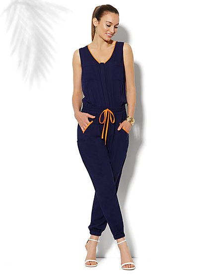 Contrast-Trim Jumpsuit - New York & Company