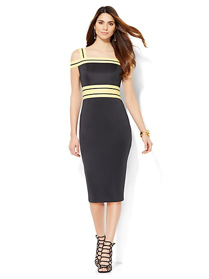 Contrast-Trim Scuba Midi Dress  - New York & Company